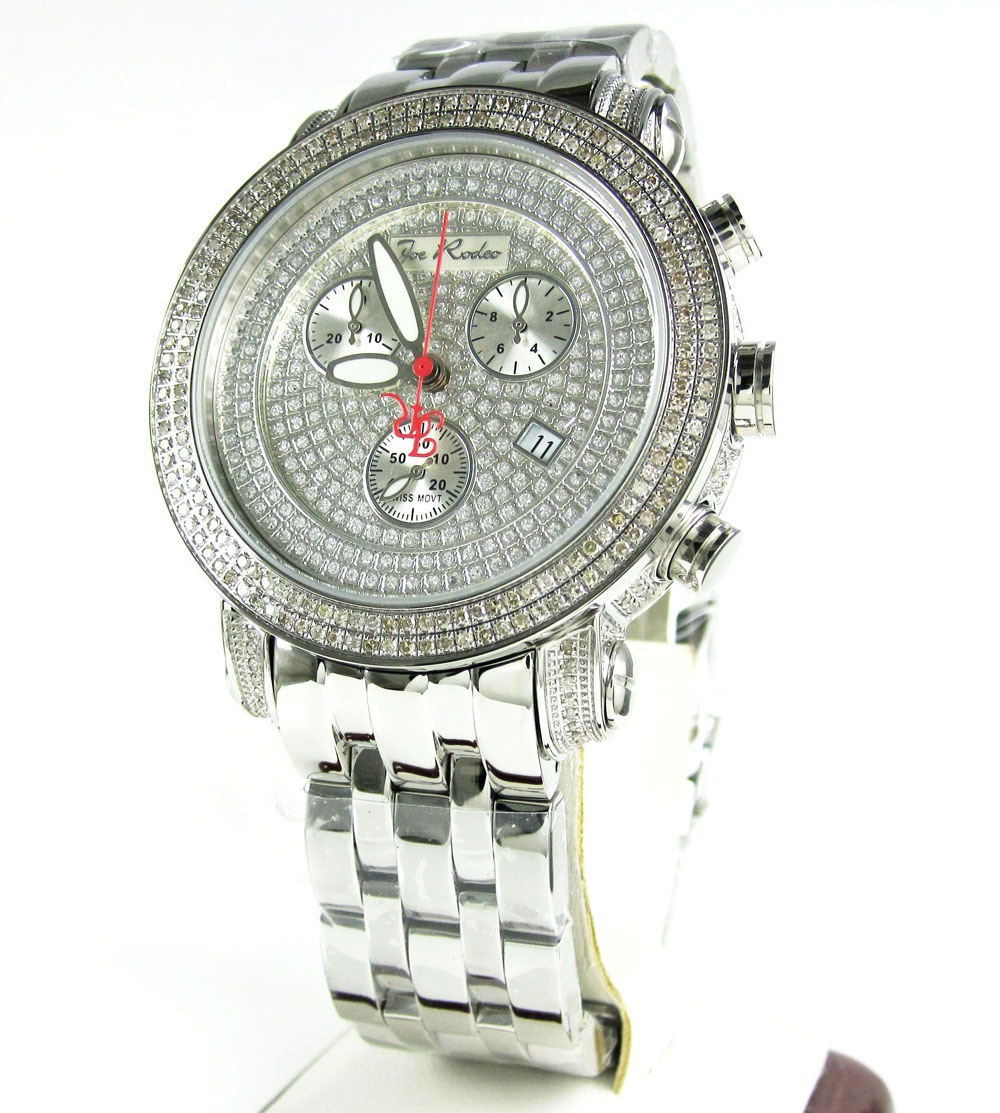 Mens joe rodeo white stainless steel diamond classic watch 3.50ct jcl50