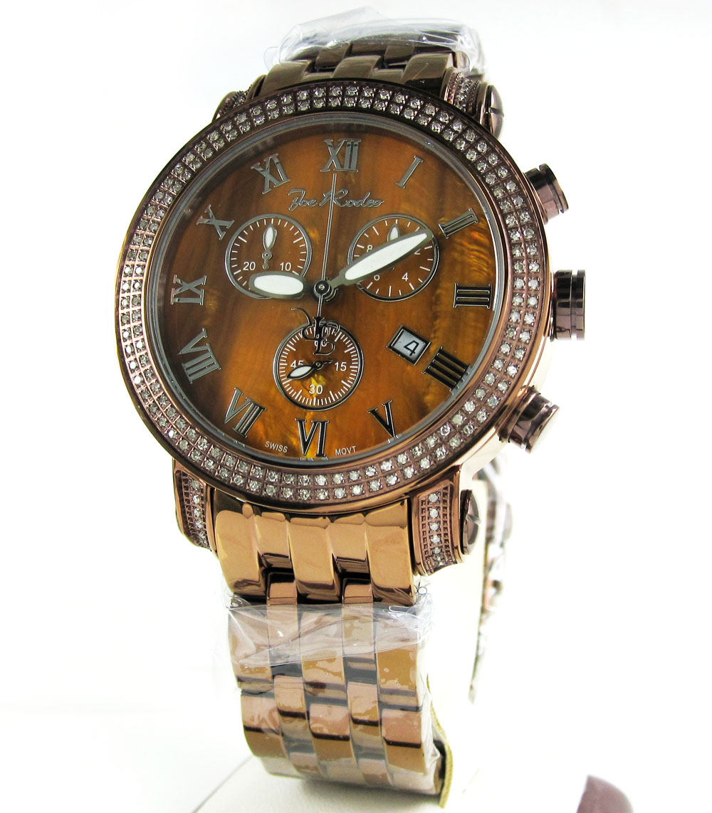 mens joe rodeo copper finish steel diamond classic watch 1 75ct jcl200