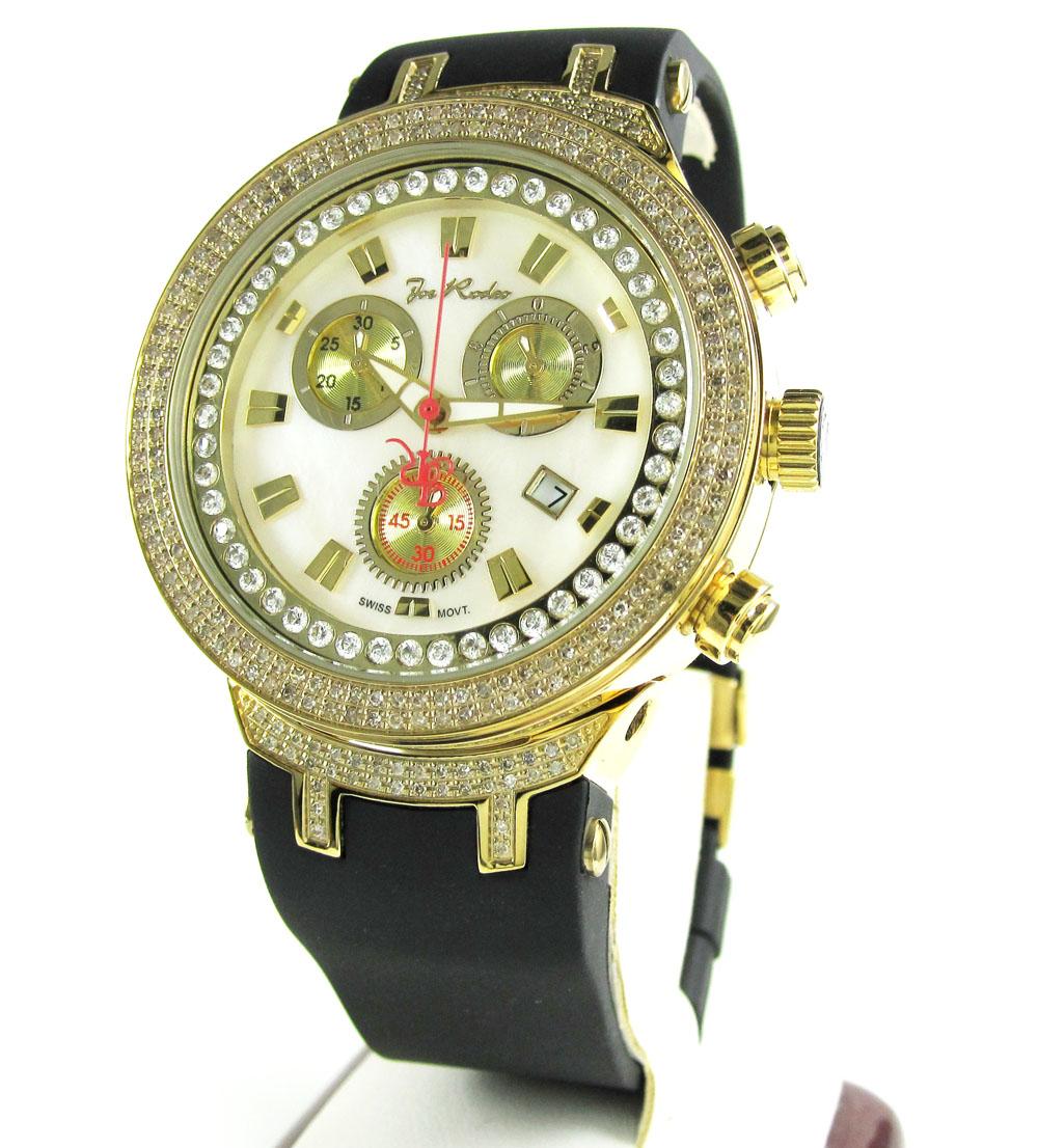 Mens Joe Rodeo Yellow Stainless Steel Diamond Master Watch 2.20CT JJM87