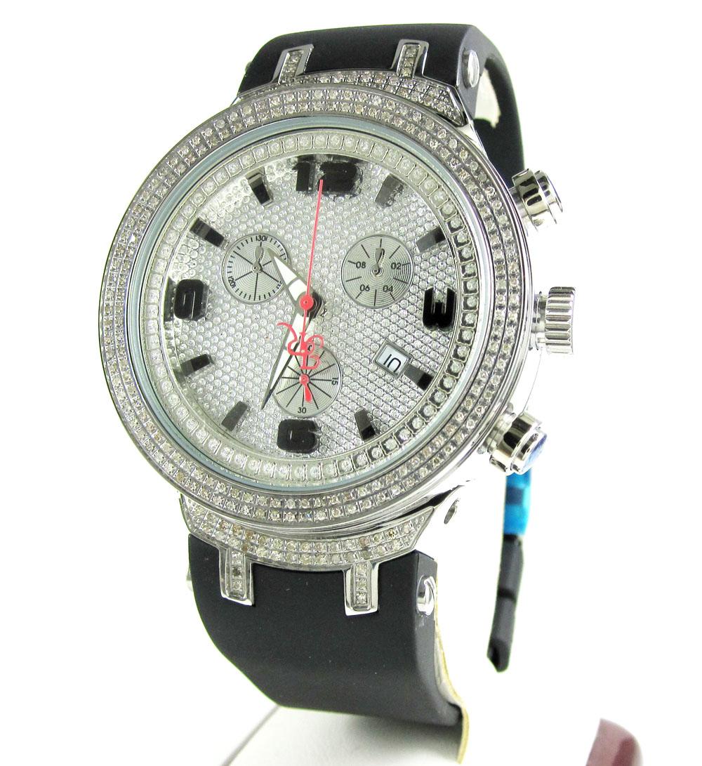 Mens joe rodeo white stainless steel diamond master watch 2.20ct jjm88