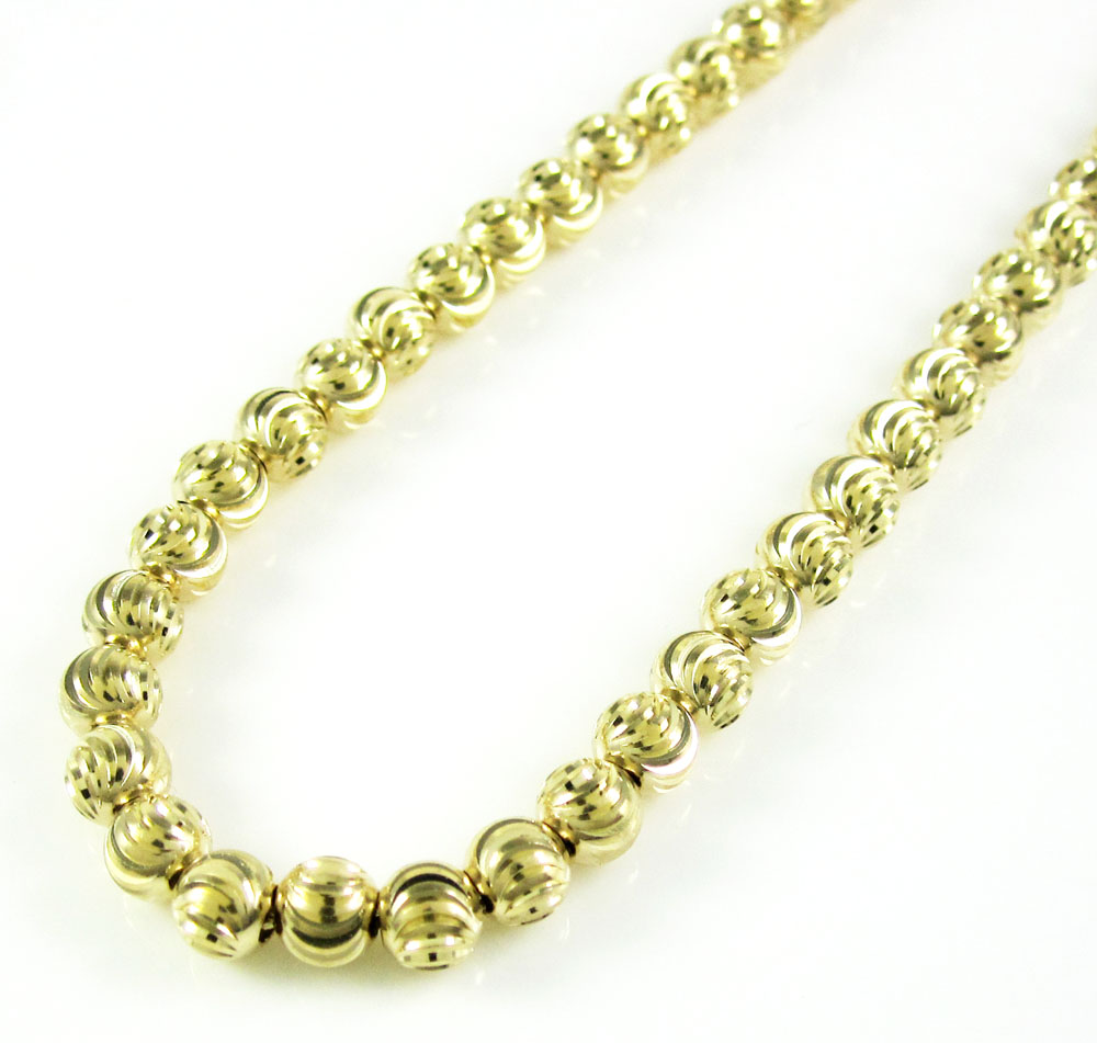 14k yellow gold moon cut bead chain 18-22 inch 4mm