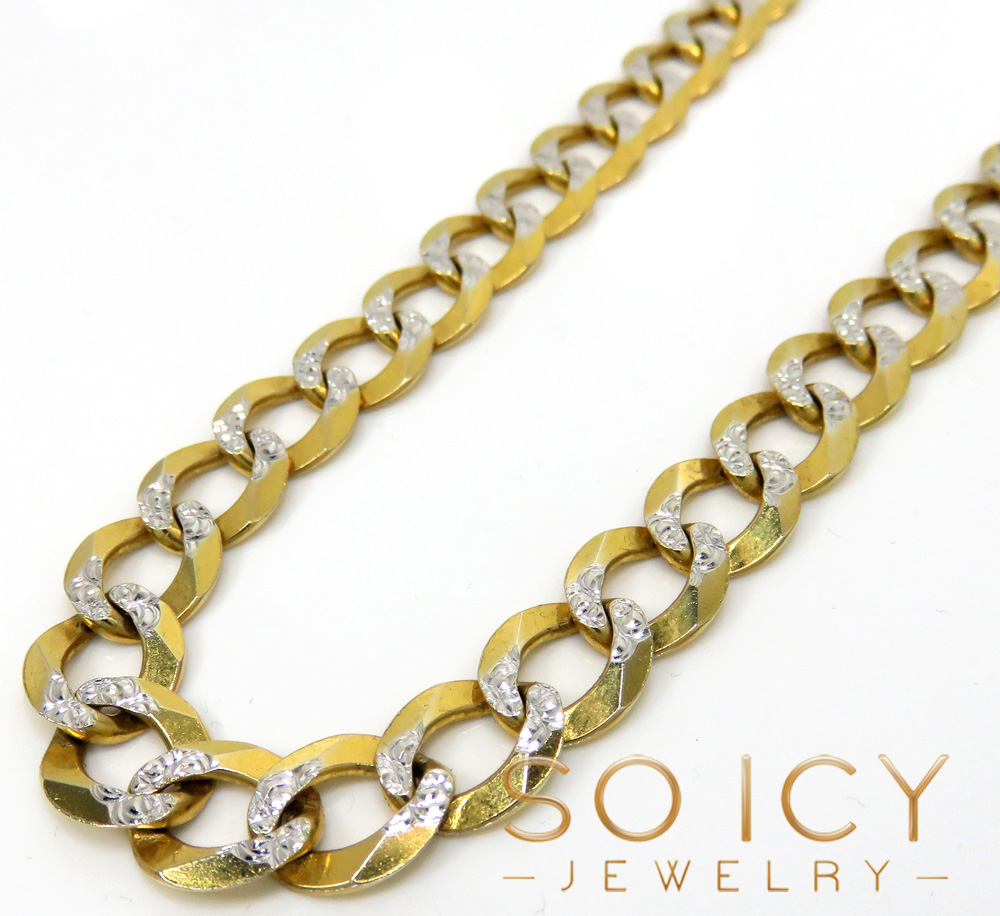 10k yellow gold diamond cut cuban chain 26-40 inch 10mm