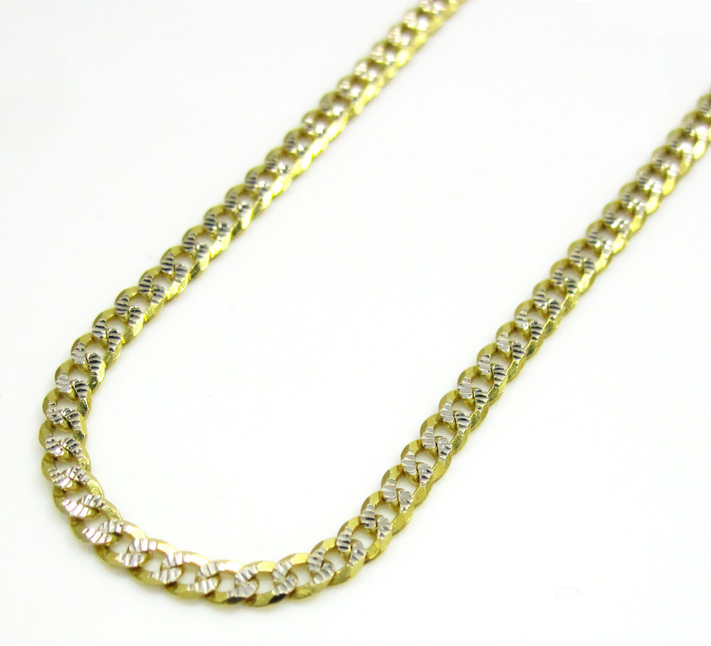 10k yellow gold diamond cut cuban chain 18-26 inch 2mm