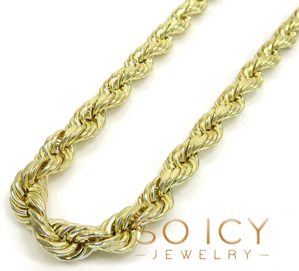 10k yellow gold medium hollow rope chain 24-30 inch 8mm