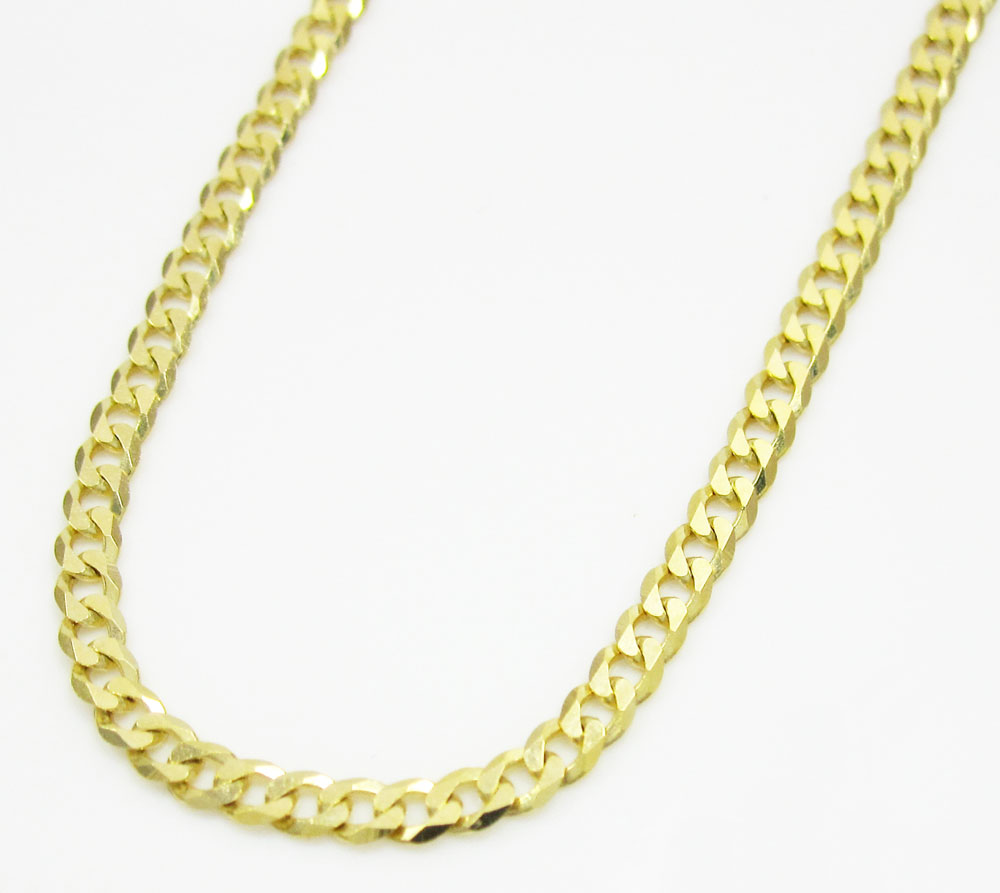 10k yellow gold skinny cuban chain 20-26 inch 2.2mm