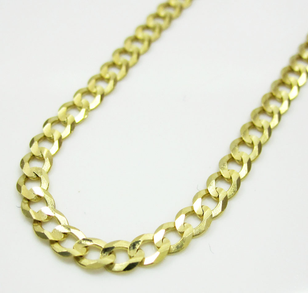 10k yellow gold skinny cuban chain 16-30