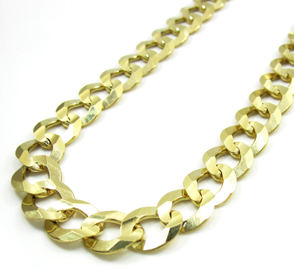 10k yellow gold thick cuban chain 26-40 inch 10mm
