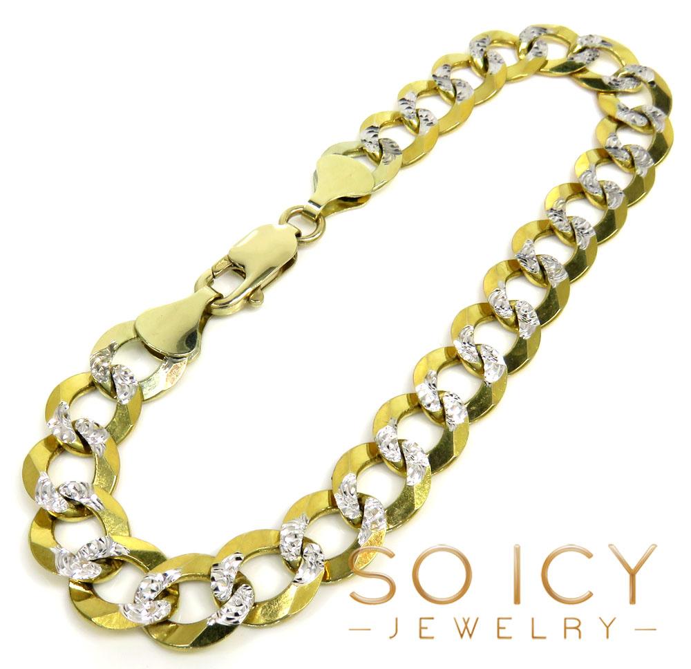10k yellow gold diamond cut cuban bracelet 9 inch 9.80mm