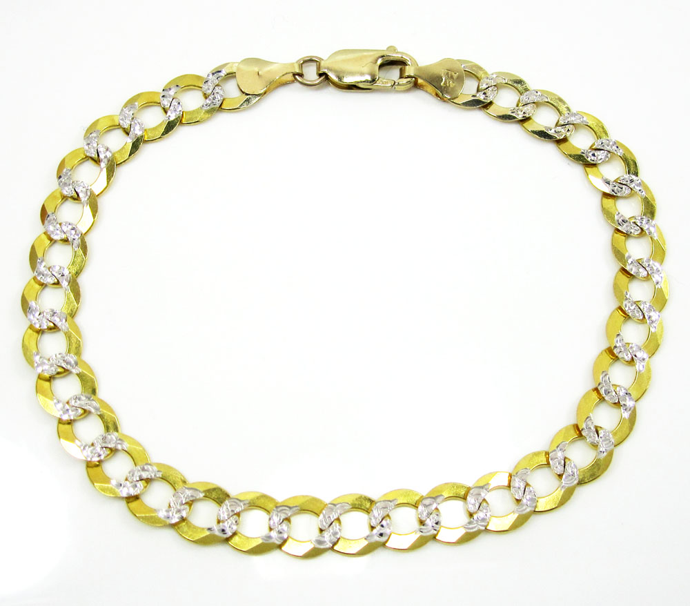 10k yellow gold diamond cut cuban bracelet 8.25 inch 7.25mm