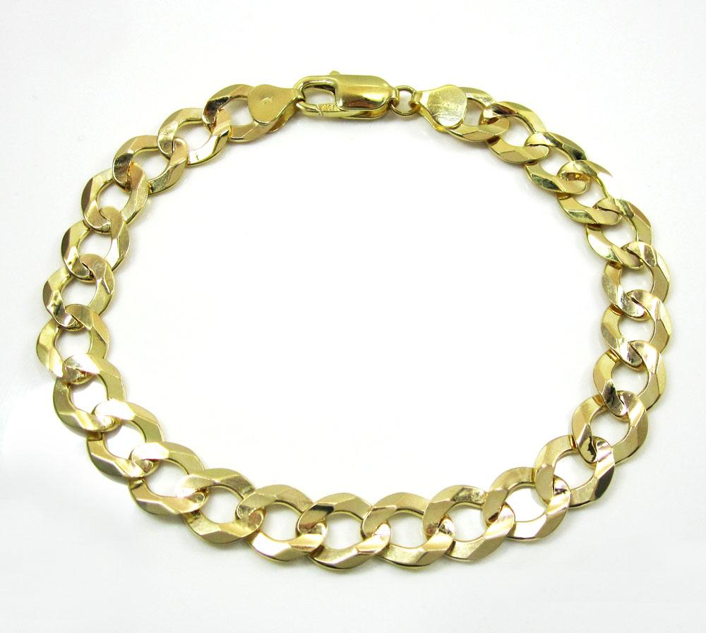 10k yellow gold cuban bracelet 9 inch 9.50mm