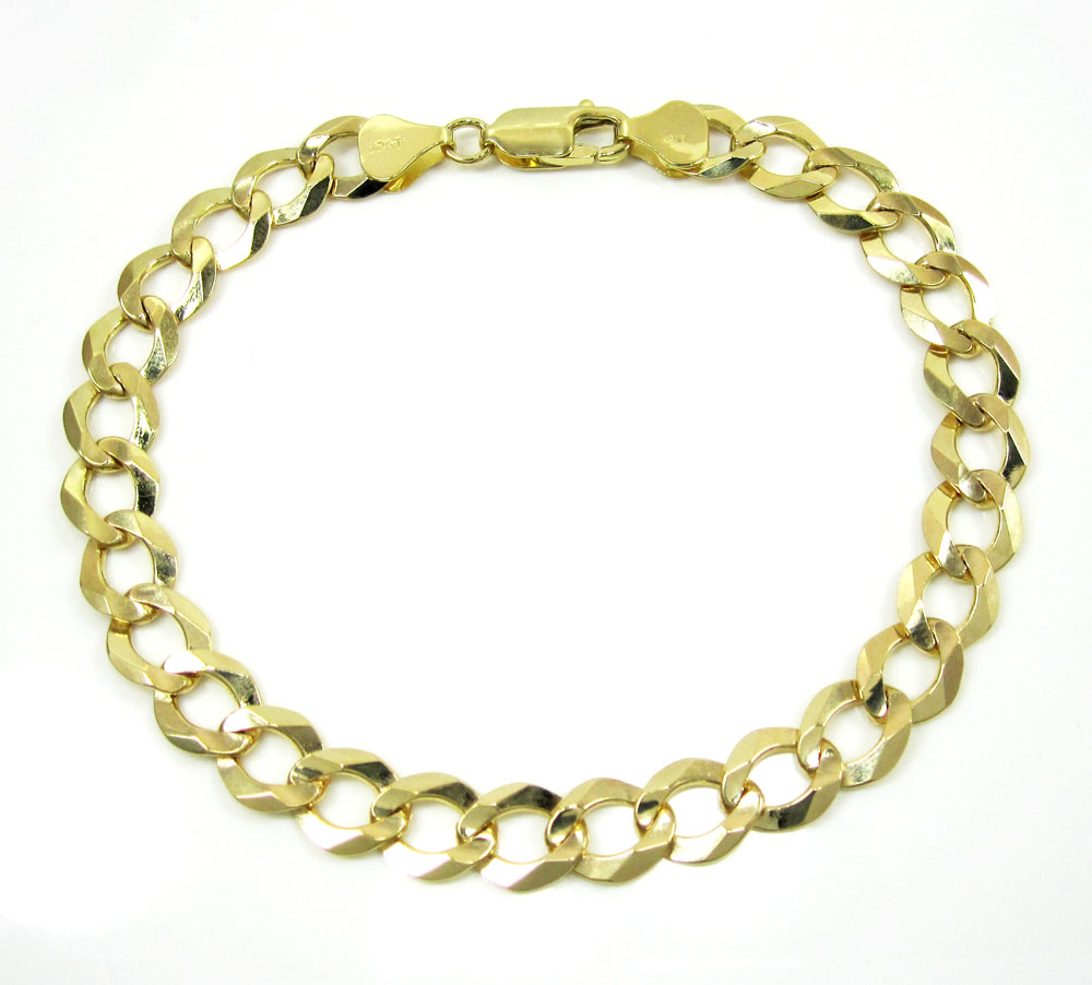 10k yellow gold cuban bracelet 8.50 inch 7mm