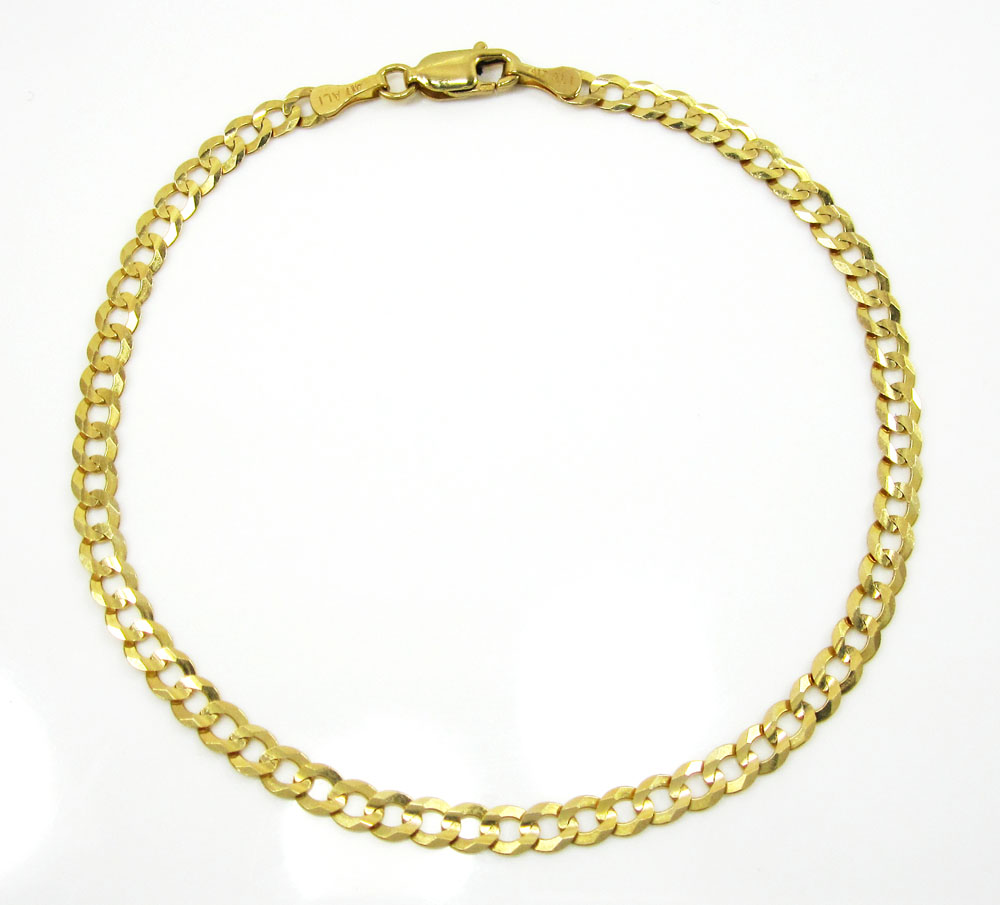 10k yellow gold cuban bracelet 8 inch 3.65mm