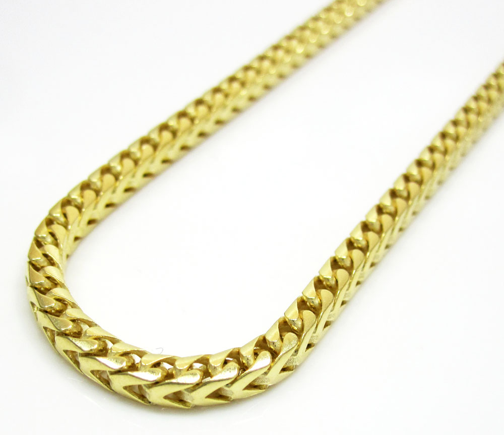 14k yellow gold solid tight franco link chain 20-30 inch 3mm