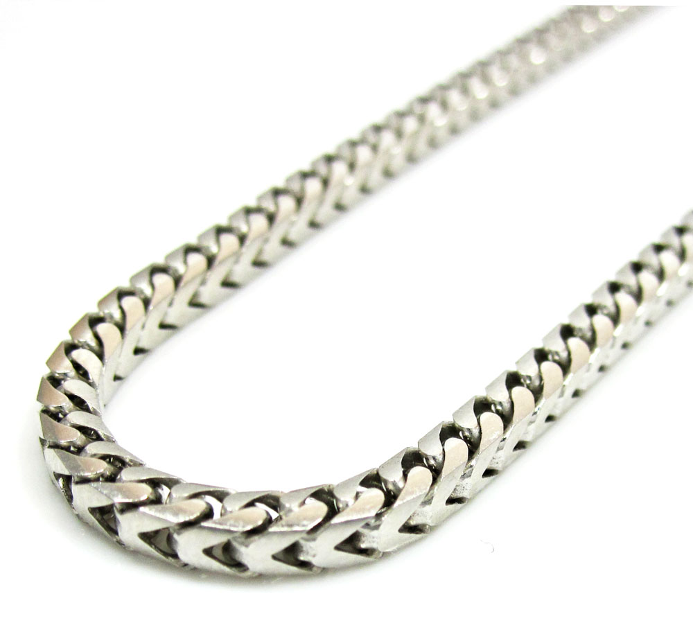 14k white gold solid tight franco link chain 20-30 inch 3mm