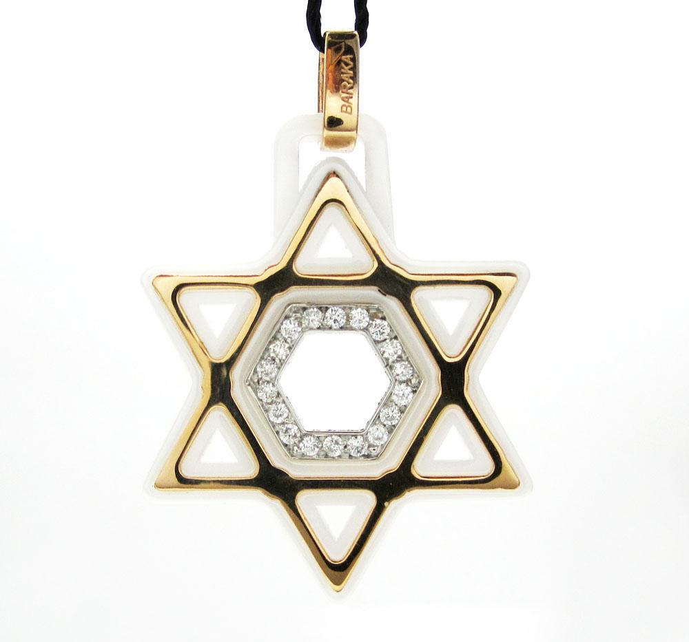 Baraka 18k rose gold white ceramic jewish star of david diamond pendant 0.18ct