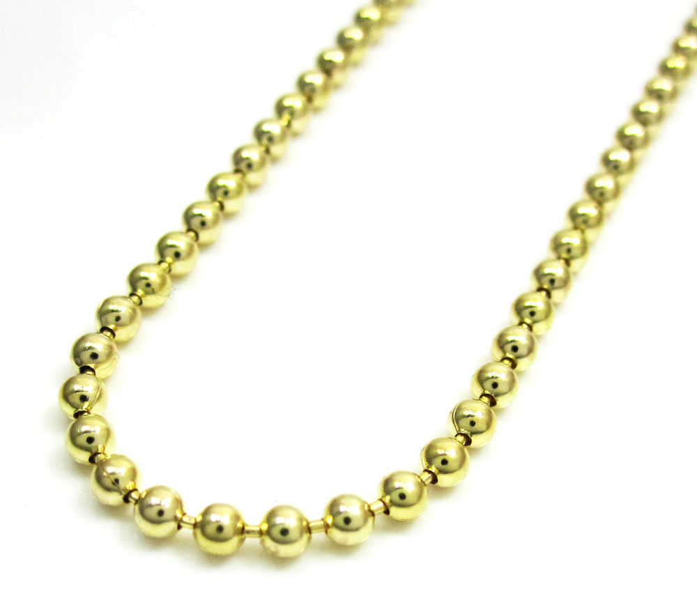 10k yellow gold combat ball link chain 20-26 inch 2.2mm