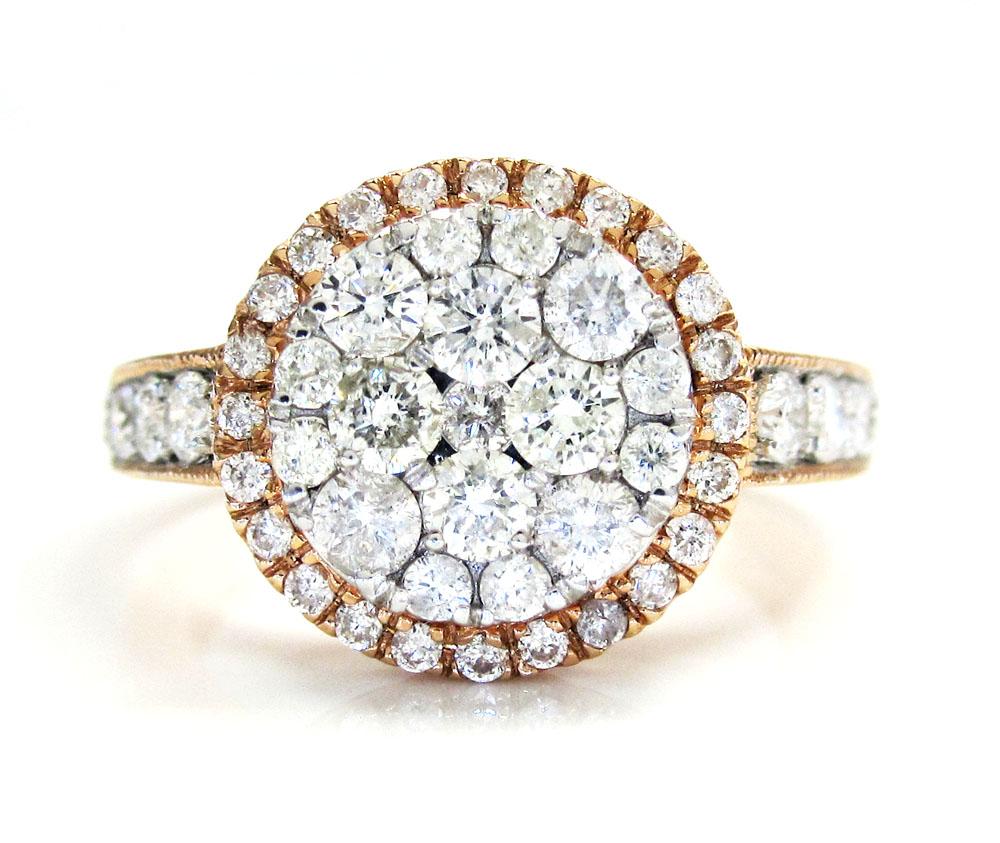Ladies 14k rose gold round diamond cocktail ring 1.21ct