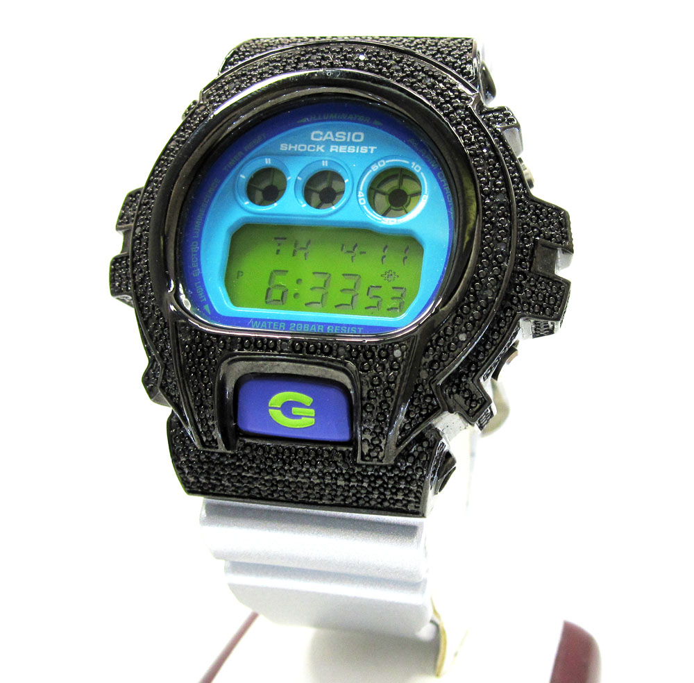 Mens partial black diamond dw-6900 stainless steel g-shock watch 0.25ct