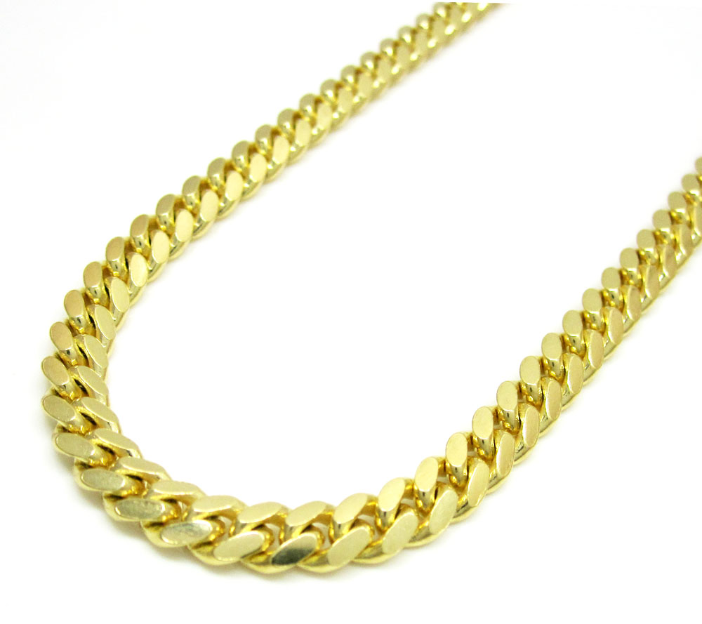 14k yellow gold solid tight miami link chain 20-26 inch 5mm
