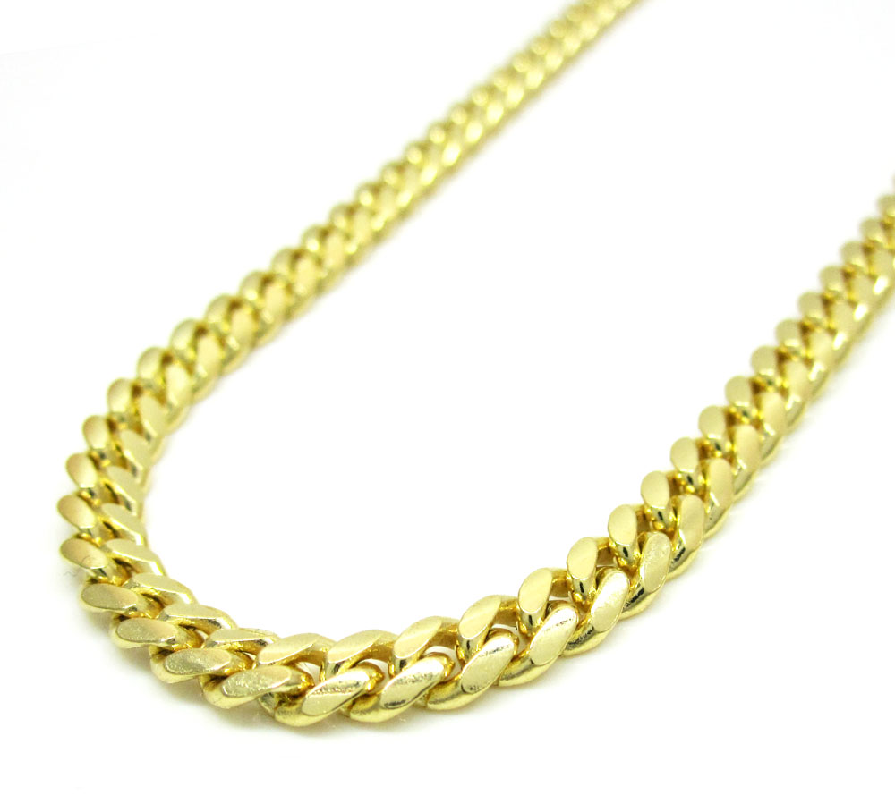 14k yellow gold solid tight miami link chain 20-24 inch 3.8mm