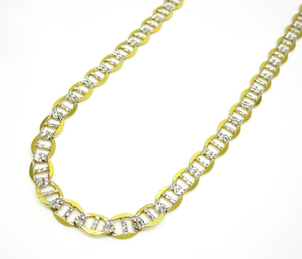 10k yellow gold solid diamond cut mariner link chain 20-36 inch 5.2mm
