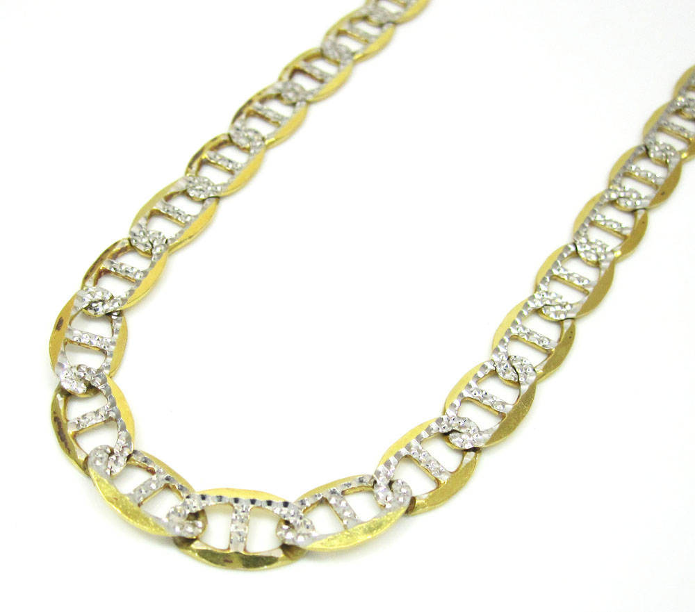 10k yellow gold solid diamond cut mariner link chain 26 inch 6mm