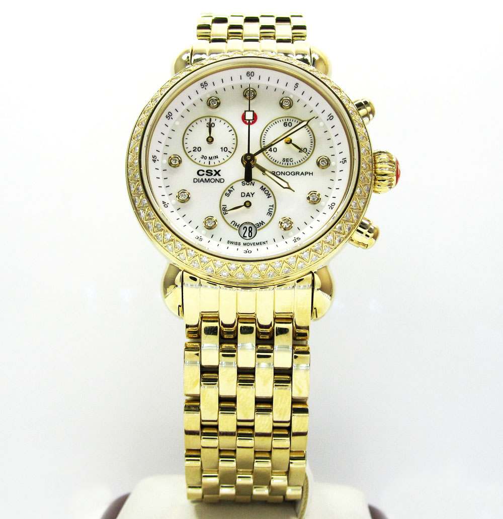 Ladies michele signature csx-36 diamond yellow stainless steel watch 0.64ct