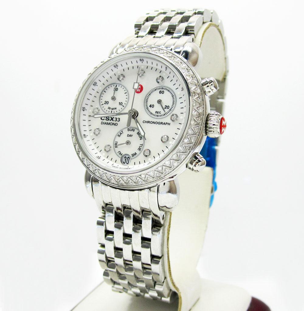 Ladies michele signature csx-36 diamond white stainless steel watch 0.64ct