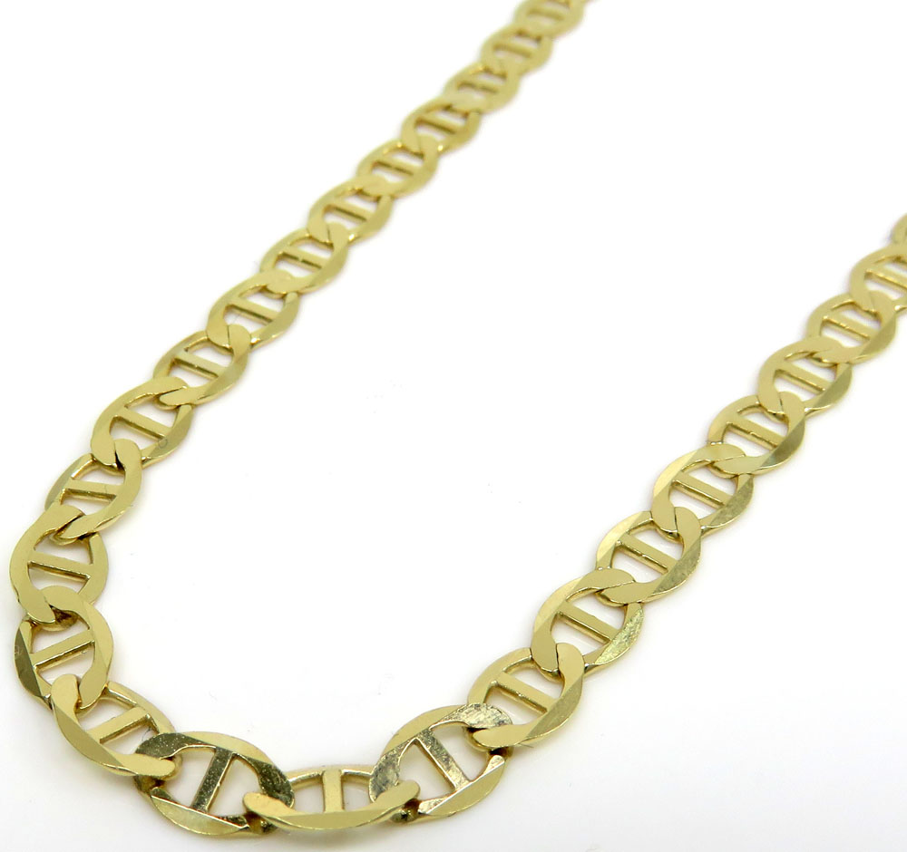 10k yellow gold solid mariner link chain 18-24 inch 4.3mm