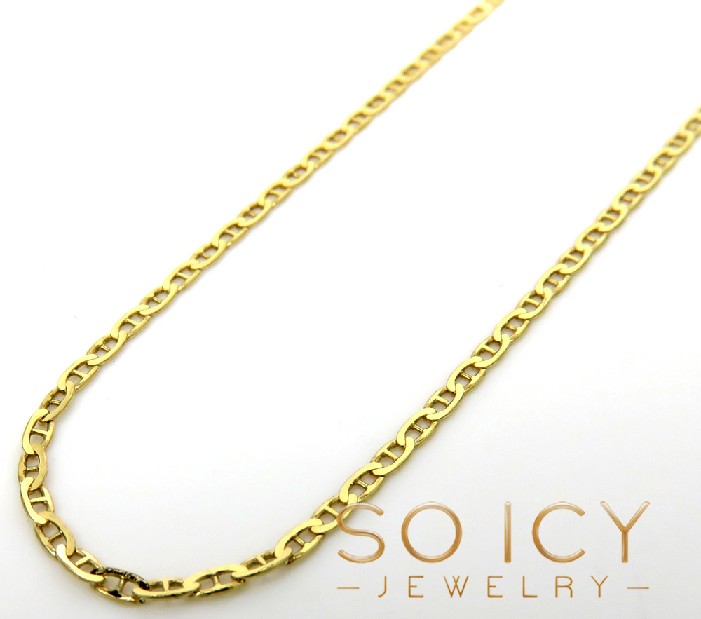 10K Yellow Gold Solid Mariner Link Chain 16-22 Inch 1.5mm