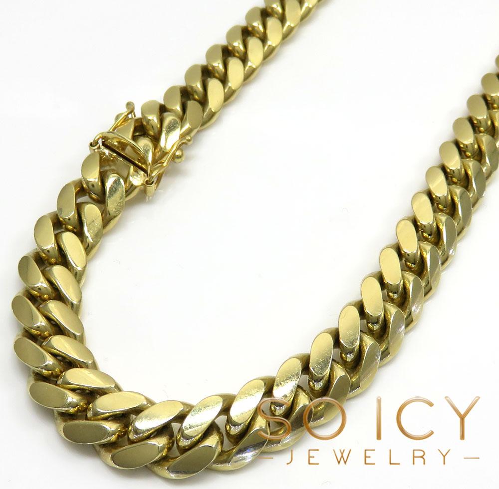 10k yellow gold thick miami chain 20-32 inch 9.20mm