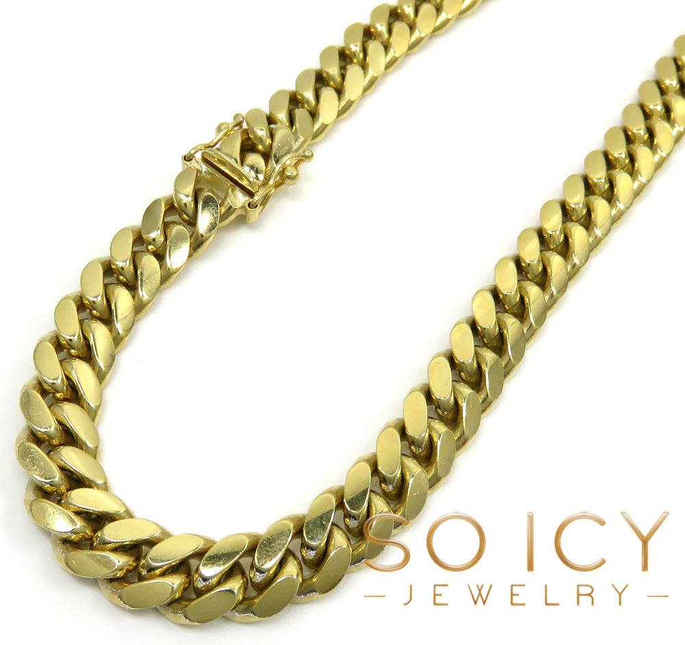 10k yellow gold thick miami chain 24-32 inch 8.2mm