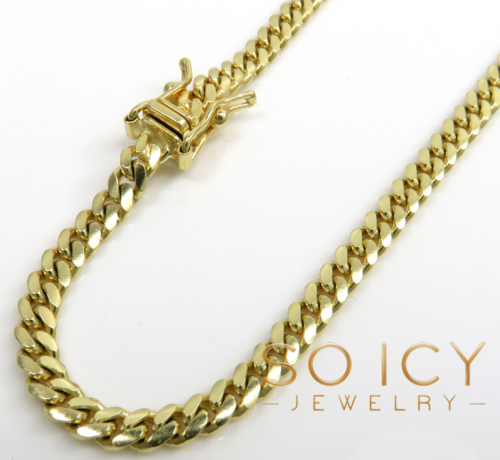 10k yellow gold miami chain 18-26 inch 4.2mm