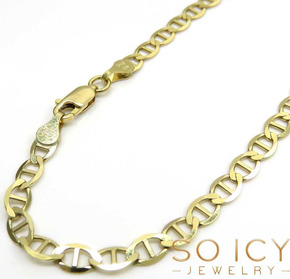 10k yellow gold solid mariner bracelet 8 inch 4.3mm