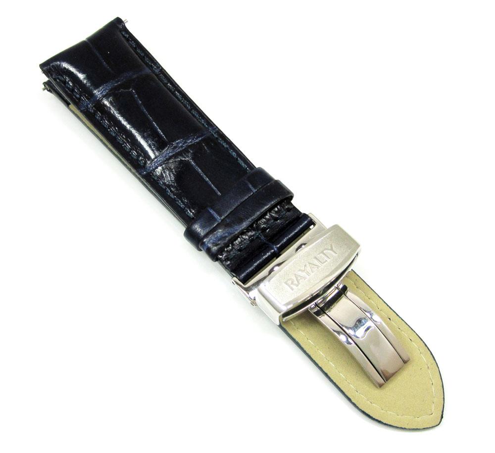 Rayalty dark blue leather band 24mm
