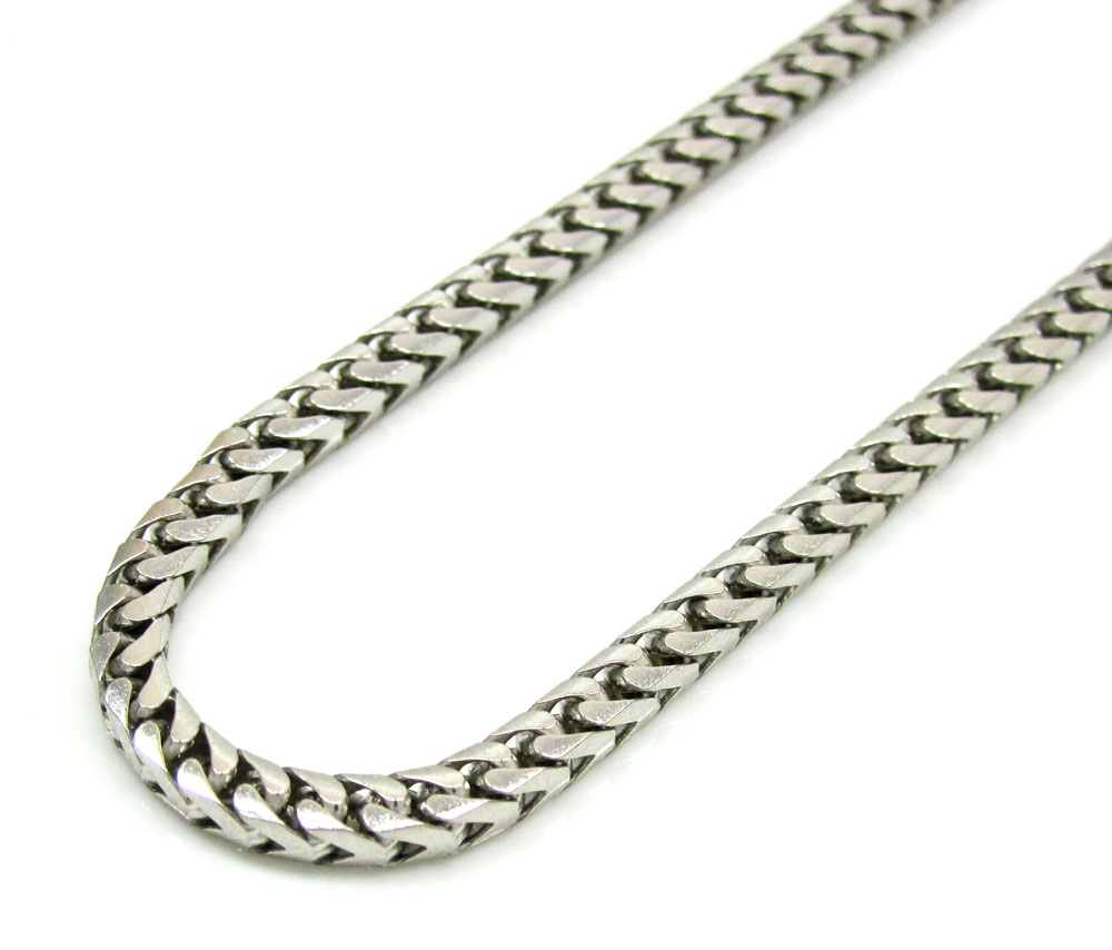 10k white gold solid franco link chain 22-26 inch 2.8mm