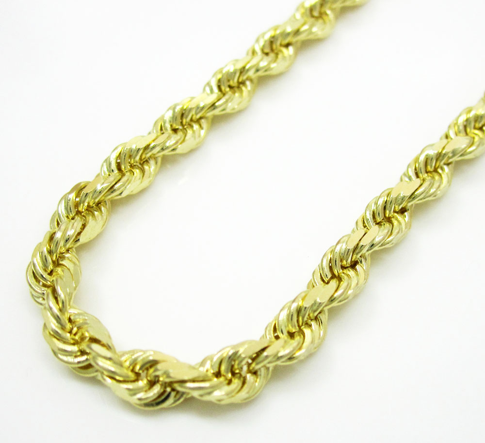 10k yellow gold solid rope link chain 20-30 inch 3.2mm