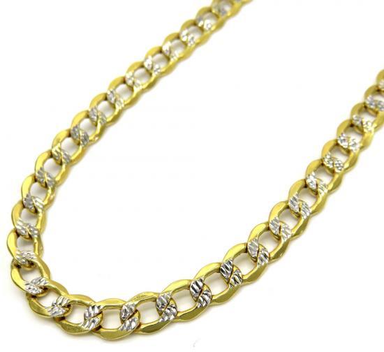 1d427556df5ae 10K Yellow Gold Hollow Diamond Cut Cuban Link Chain 22-24 Inch ...