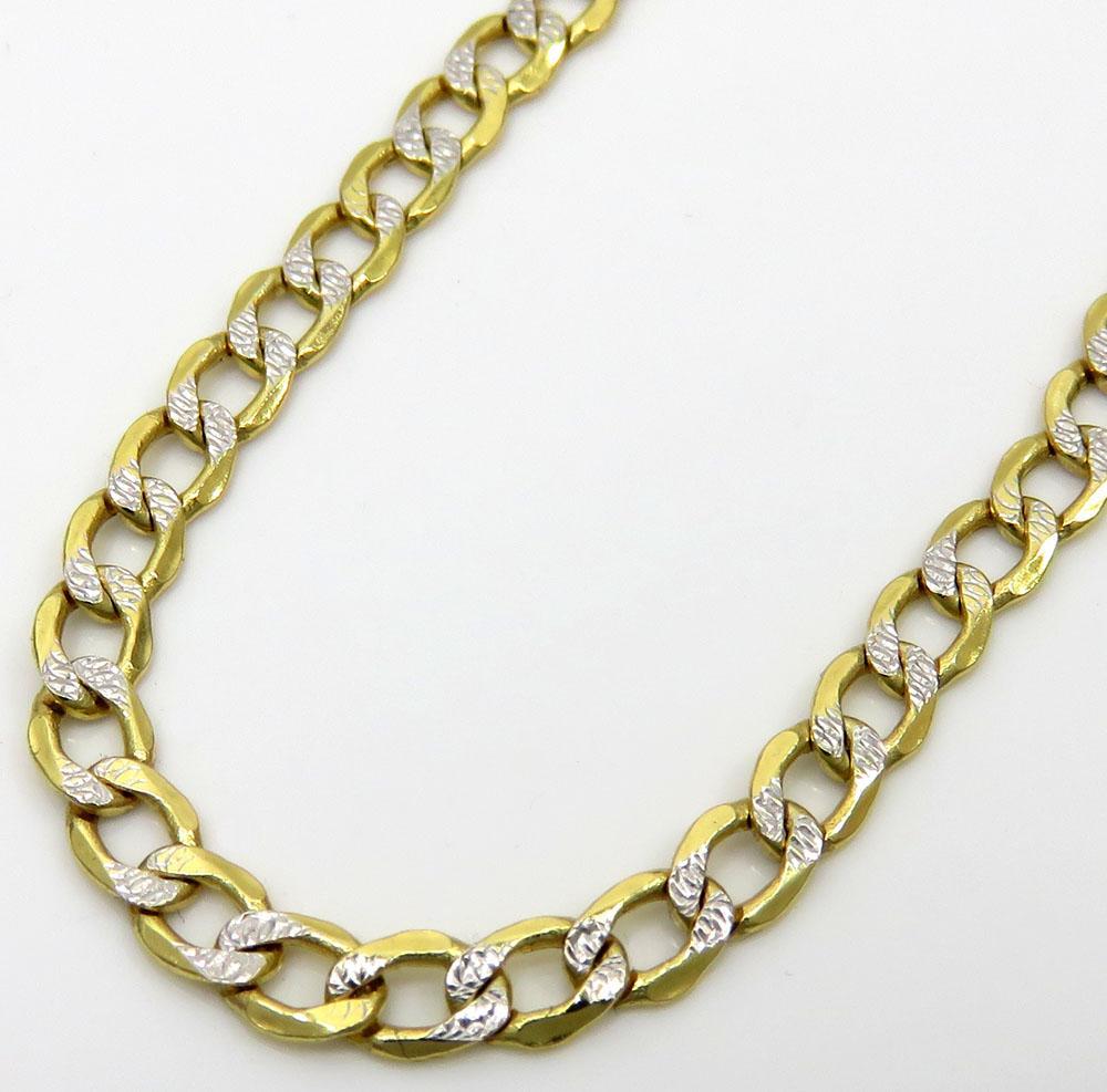 92c028bc619 10K Yellow Gold Hollow Diamond Cut Cuban Link Chain 24 Inch 3.3mm