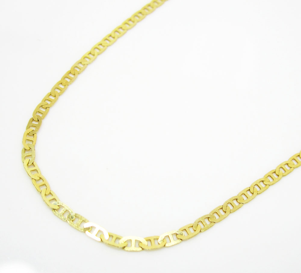 10K Yellow Gold Solid Tight Mariner Link Chain 16-20 Inch 1.5mm