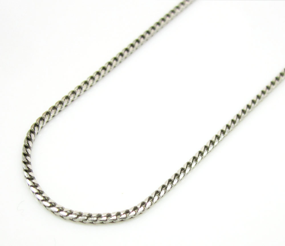 10k white gold smooth cut franco link chain 16-22 inch 1mm
