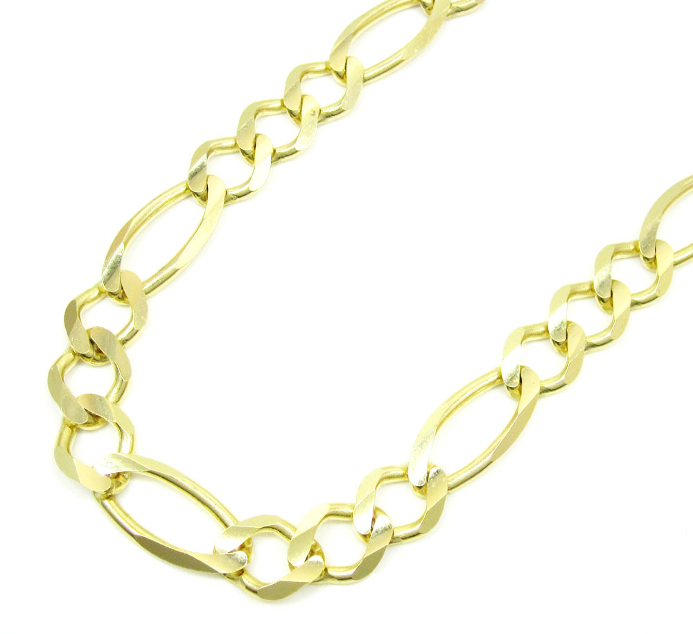 10k yellow gold solid figaro link chain 24-30 inch 9.5mm