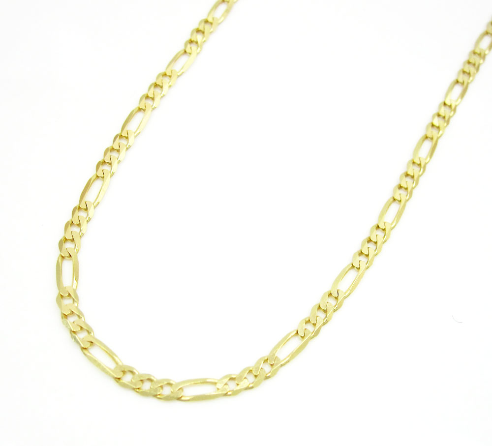 10k yellow gold solid figaro link chain 20-24 inch 2mm