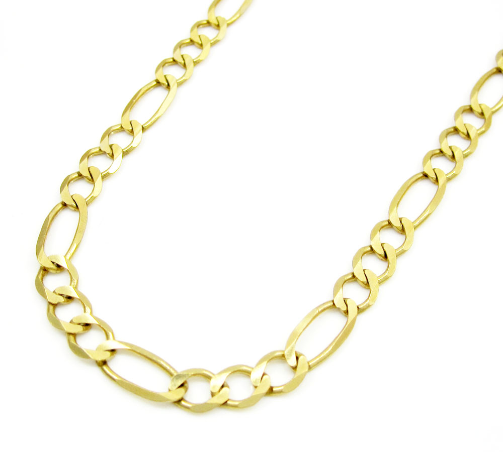 10k yellow gold solid figaro link chain 18-30 inch 4.6mm