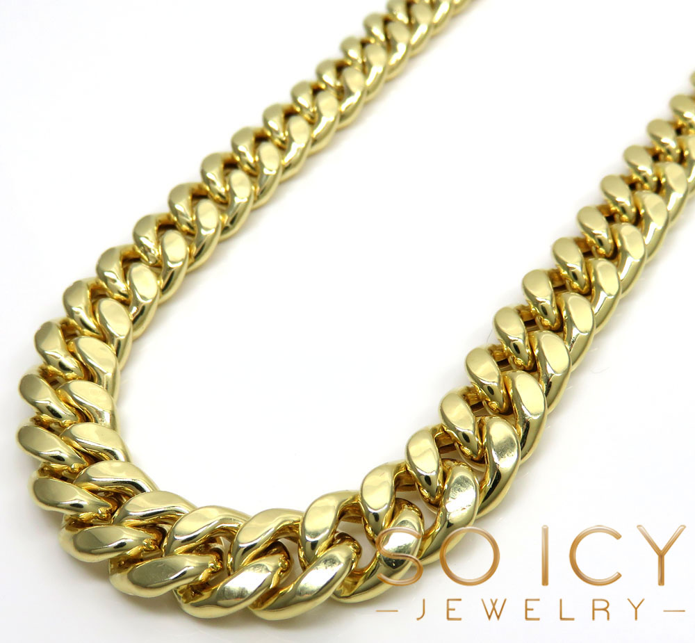 10k yellow gold hollow miami link chain 22-36 inch 9mm