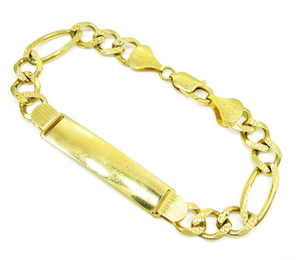 10k yellow gold diamond cut figaro id bracelet 8.5 inch 9.5mm