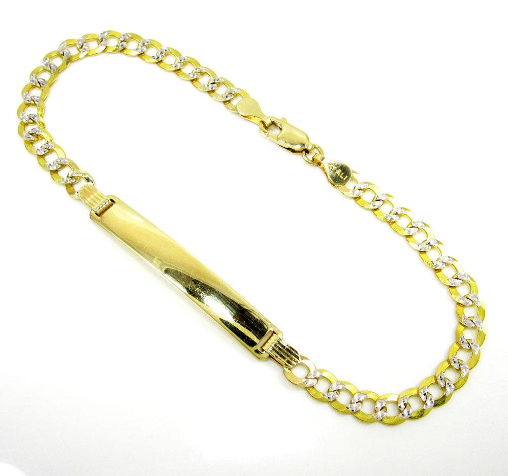 10k yellow gold diamond cut cuban id bracelet 8 inch 4mm