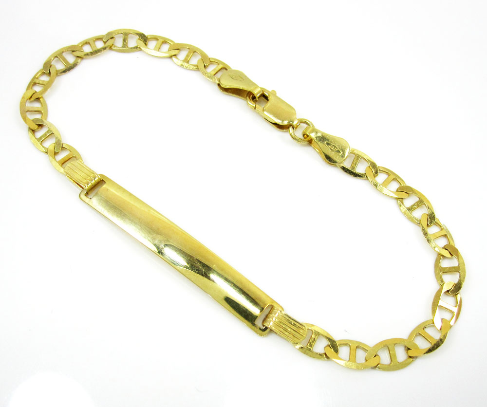 10K Yellow Gold Mariner ID Bracelet 8 Inch 4.3mm