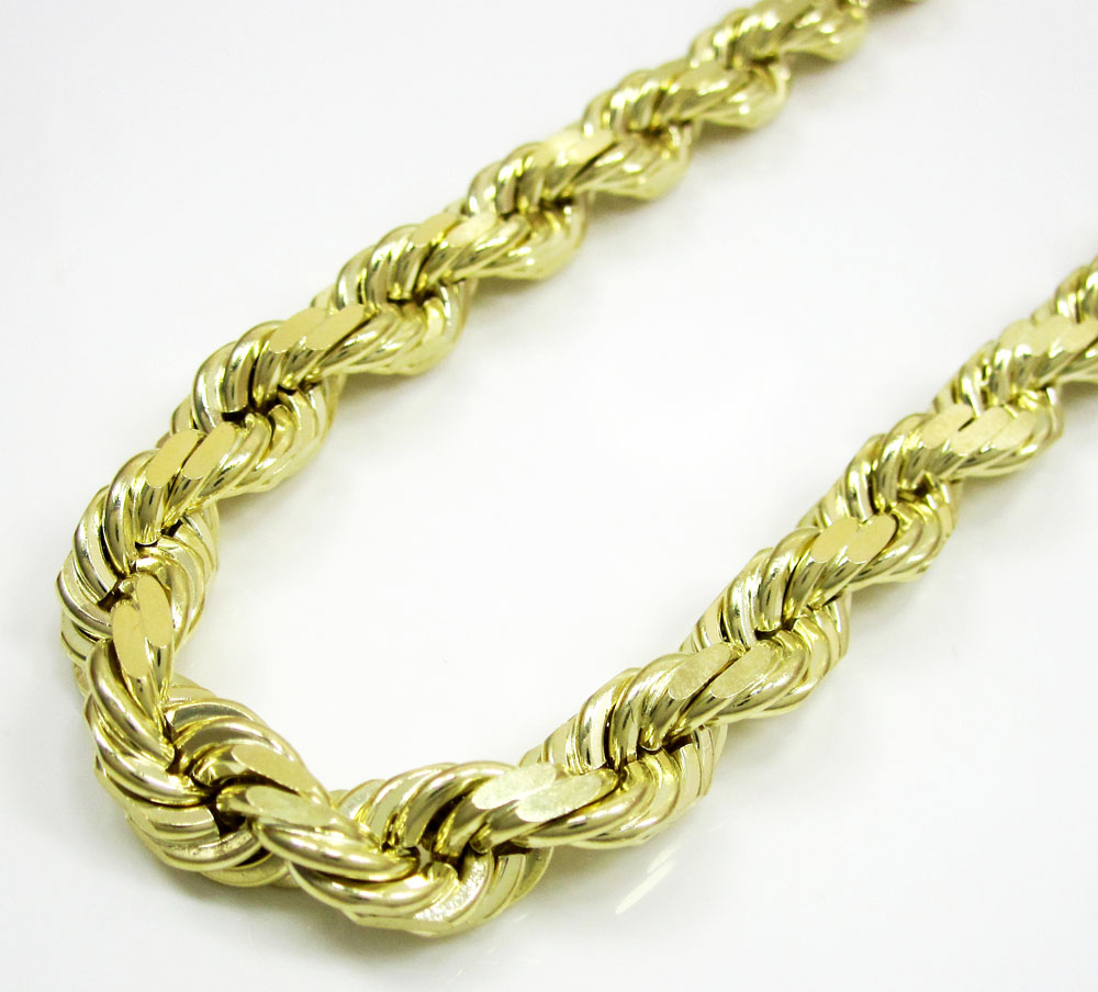 10k yellow gold thick solid rope chain 26-30 inch 6.8mm