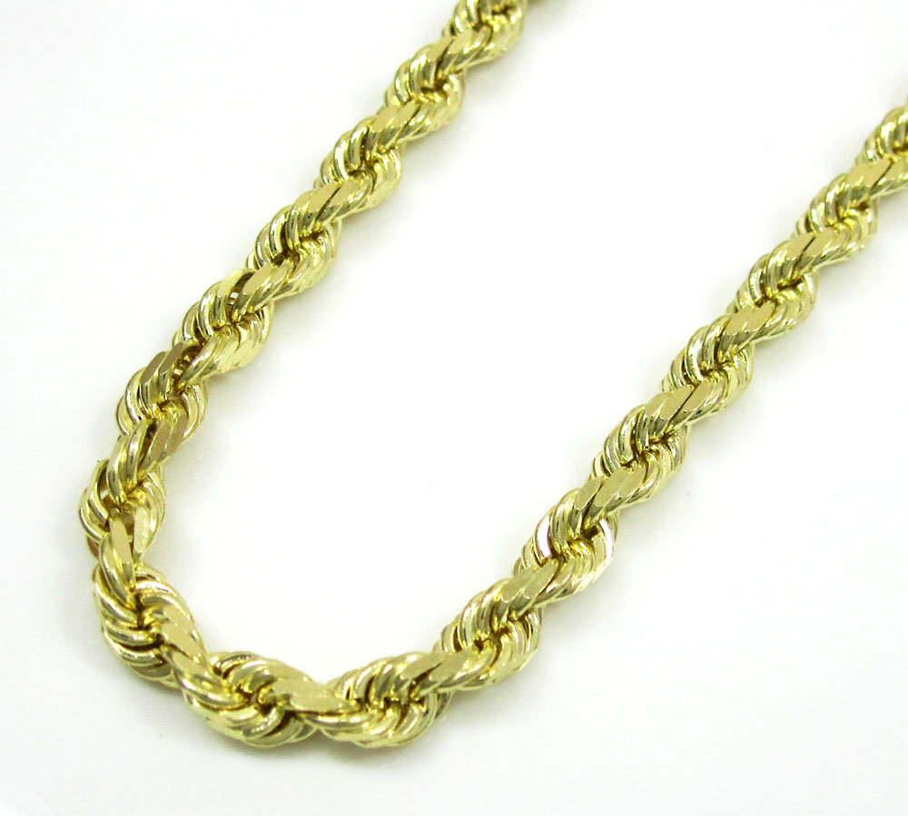 10k yellow gold solid rope chain 22-30 inch 3.7mm